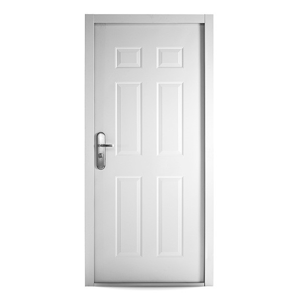 6 Panel Steel Security Commercial Door in White